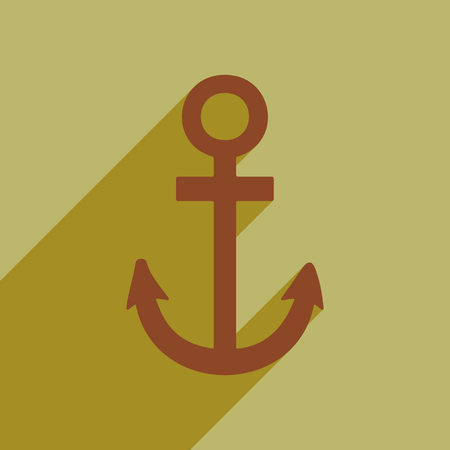 Flat style icon with long shadow anchor