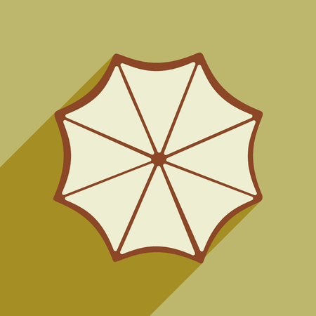 Flat style icon with long shadow umbrella