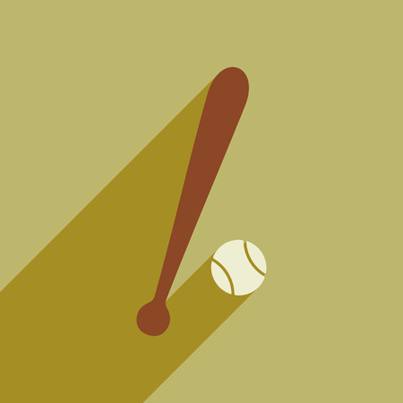 Flat style icon with long shadow baseball