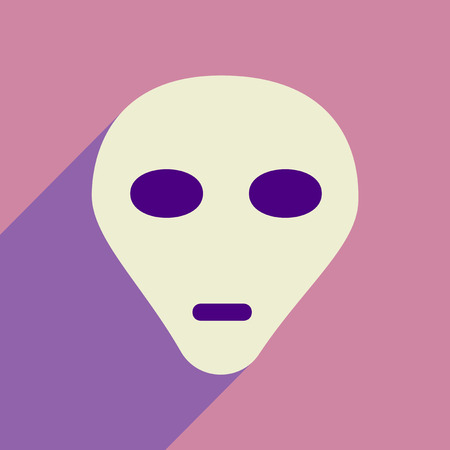 extra terrestrial: Flat icon with long shadow alien head