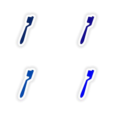 brush teeth: assembly realistic sticker design on paper Brush teeth
