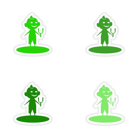 slingshot: assembly realistic sticker design on paper boy slingshot