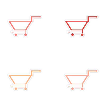 customization: assembly realistic sticker design on paper cart