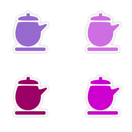 assembly realistic sticker design on paper kettle Illustration