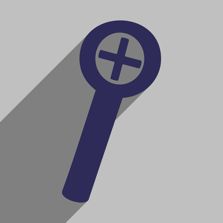 inquire: Flat icon with long shadow magnifying glass