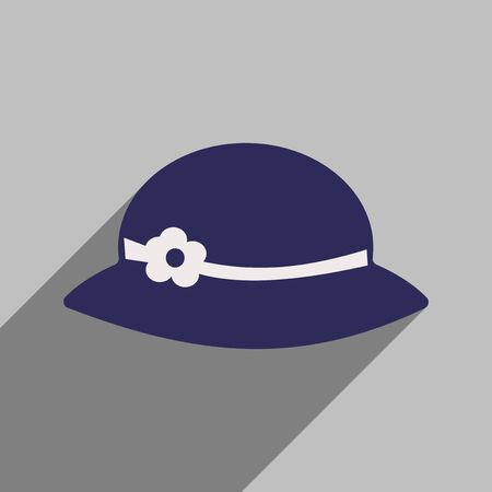 womens: Flat icon with long shadow womens hat Illustration