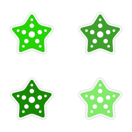assembly realistic sticker design on paper star fish Illustration