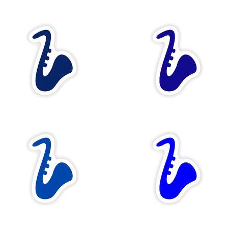 conception d'autocollant ensemble réaliste de saxophones de papier