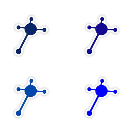 assembly realistic sticker design on paper molecules