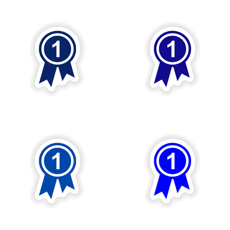 assembly realistic sticker design on paper medal
