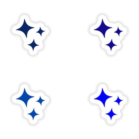radiance: assembly realistic sticker design on paper radiance Illustration