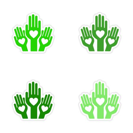 charity collection: assembly realistic sticker design on paper hands heart