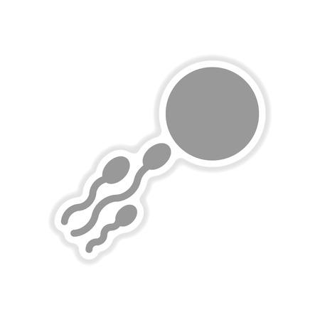 sex chromosomes: paper sticker on white background  sperm egg