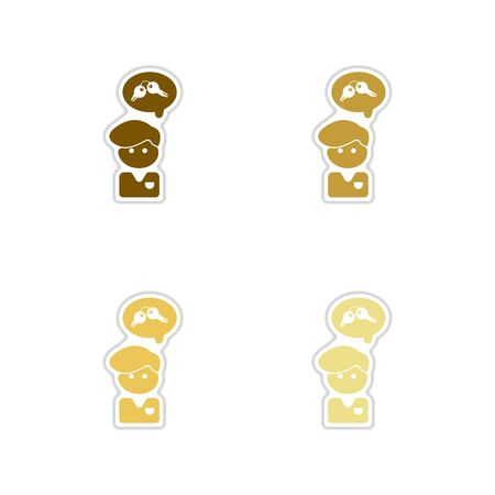 hopelessness: Set of paper stickers on white   background People thought keys