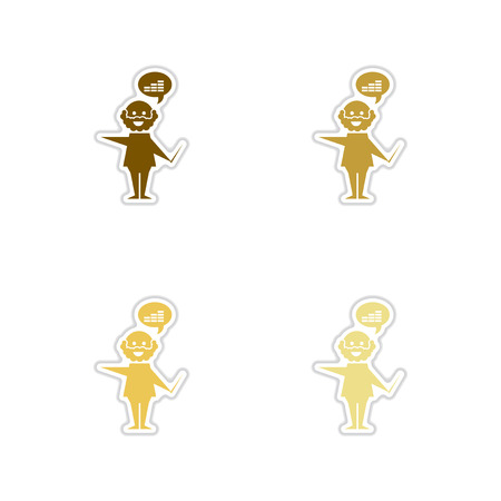 Set of paper stickers on white  background graphics businessman Illustration