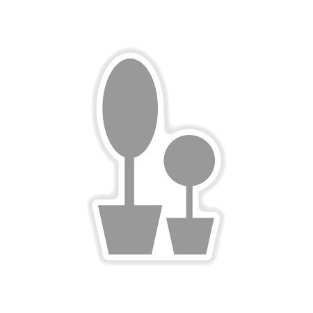 flowerpots: paper sticker on white  background decorative flowerpots