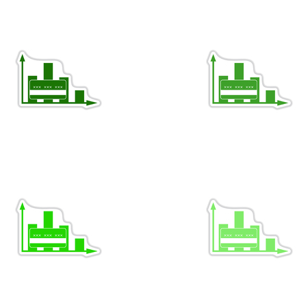 financial graph: Set of paper stickers on white  background financial graph Illustration