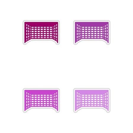 football goal: Set of paper stickers on white  background football goal Illustration