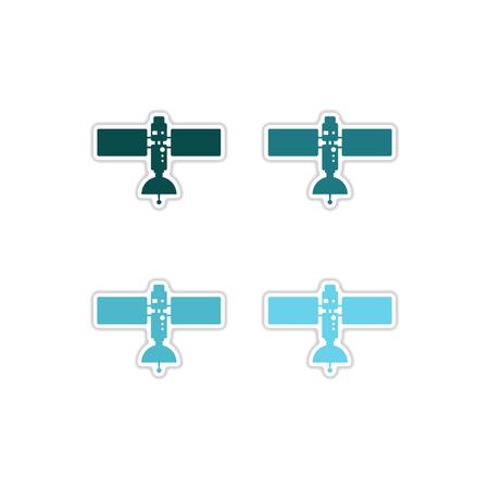 space antenna: Set of paper stickers on white  background satellites Illustration