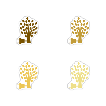 powered: Set of paper stickers on white  background eco energy Illustration