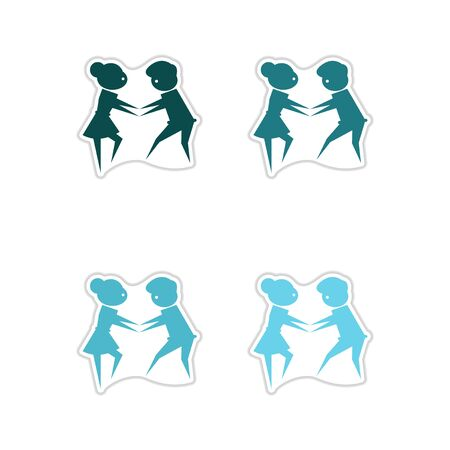 jill: Set of paper stickers on white  background pair of dancers Illustration