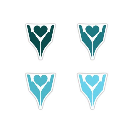 Set of paper stickers on white  background  hands heart