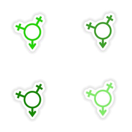 assembly realistische sticker ontwerpen op papier de gelijkheid van de seksen