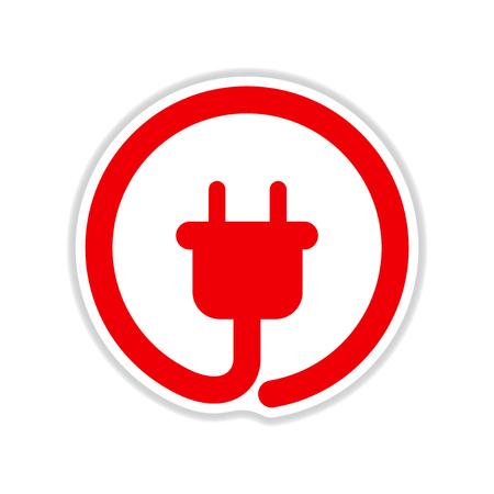 paper sticker on white  background  power socket