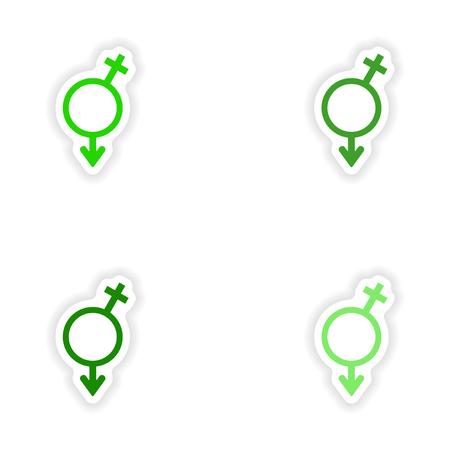 montage realistische sticker ontwerp op papier Man en vrouw