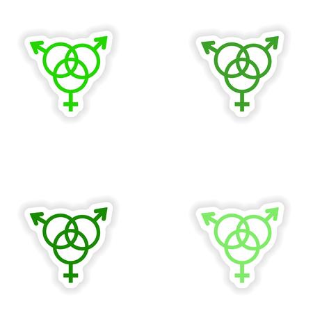 montage realistische sticker ontwerp op papier geslacht groep Stock Illustratie