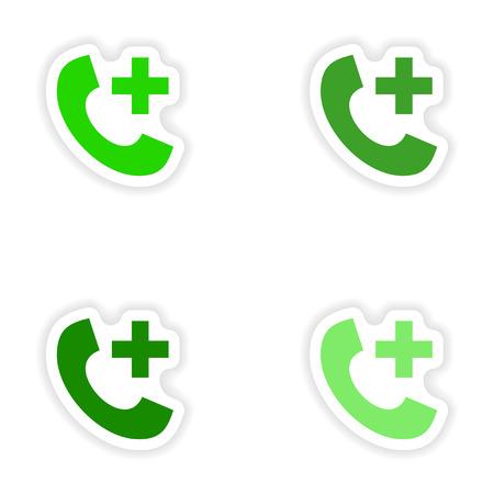 hotline: assembly realistic sticker design on paper Emergency Hotline Illustration