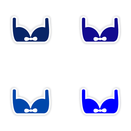 assembly realistic sticker design on paper brassiere Illustration