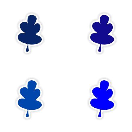 assembly realistic sticker design on paper oak leaf