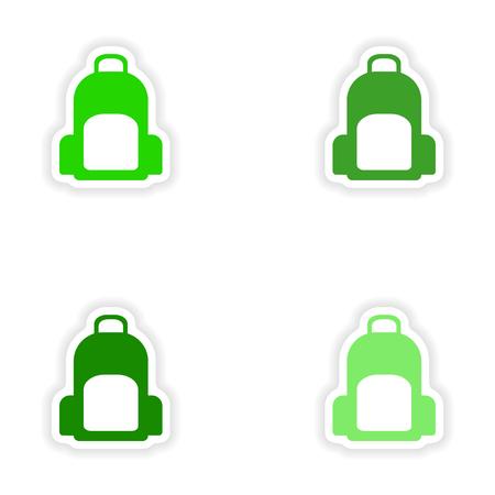 rucksack: assembly realistic sticker design on paper rucksack Illustration