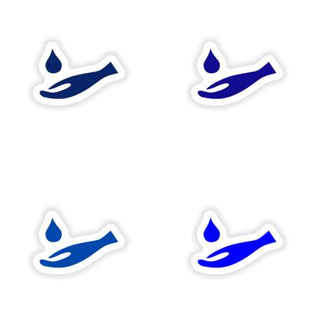 assembly realistic sticker design on paper hand hygiene Illustration