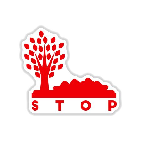 antipollution: paper sticker on white  background stop environmental pollution