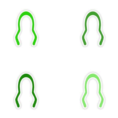 shisha: assembly realistic sticker design on paper hookah tongs Illustration
