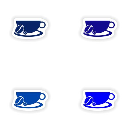 assembly realistic sticker design on paper demitasse Illustration
