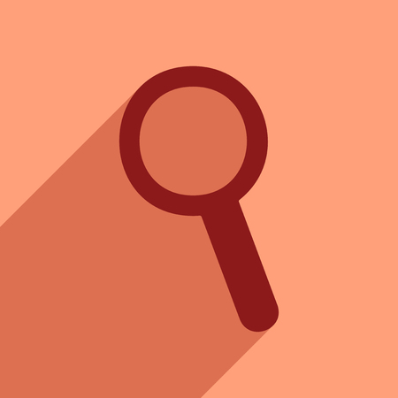 Flat style icon with long shadow magnifying glass