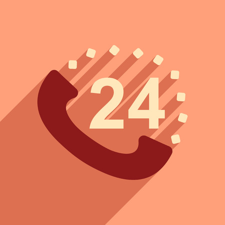 phoning: Flat style icon with long shadow hot line Illustration