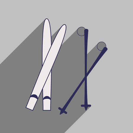 Flat icon with long shadow skis and poles