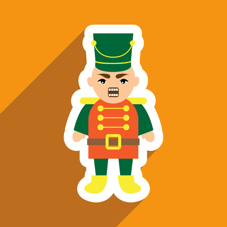 christmas military: flat icon with long shadow Nutcracker boy