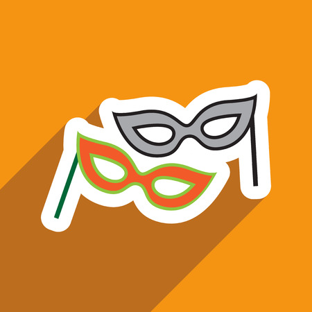 flat icon with long shadow carnival mask Illustration