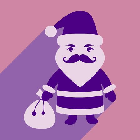 flat icon with long shadow Santa Claus