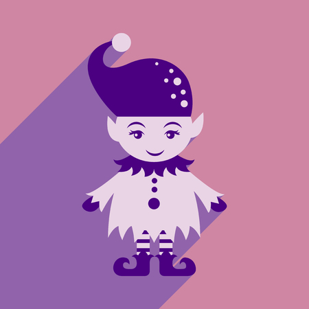flat icon with long shadow christmas gnome Illustration