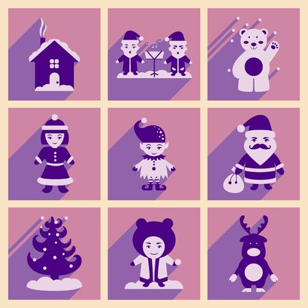 carols: Set of flat icons with long shadow new Year