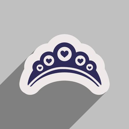 diadem: Flat web icon with long shadow diadem