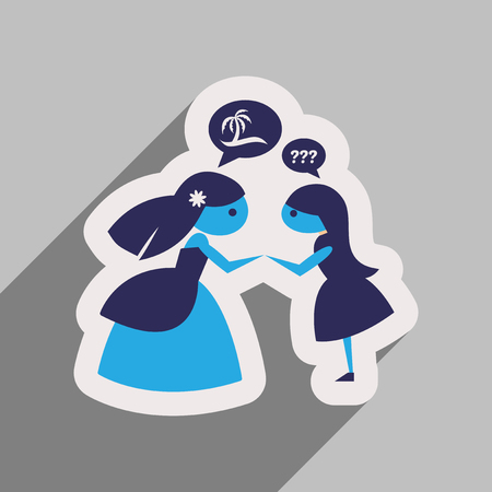 Flat web icon with long shadow Bride and friend Illustration