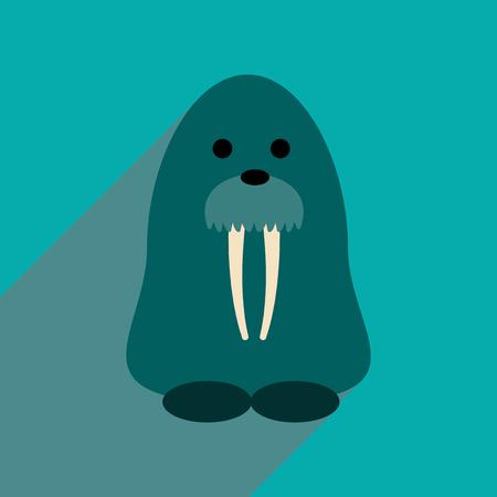 walrus: Flat web icon with long shadow walrus