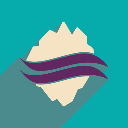 Flat web icon with long shadow map Arctic Illustration
